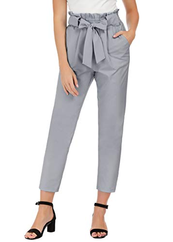 GRACE KARIN Women's Slim Straight Leg Stretch Casual Pants with Pockets M Light Gray