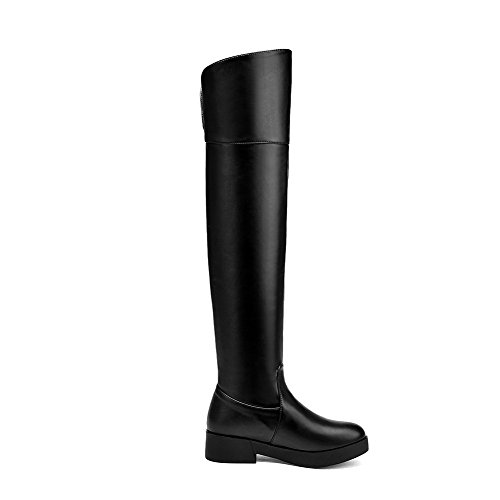 Pu Boots AgooLar Heels Toe Solid Round Low Black Pull Women's Closed On SwaOSq14