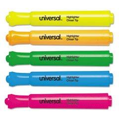 Highlighter Five Color Set Fluorescent - (3 Pack Value Bundle) UNV08860 Desk Highlighter, Chisel Tip, Fluorescent Colors, 5/Set