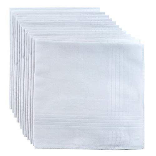 - Men's Handkerchief 100% Soft Cotton Premium Blend in Bulk - 12 Pack White by Boxed Gifts