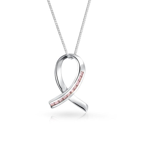 Pave Cubic Zirconia CZ Pink Ribbon Breast Cancer Survivor Pendant Necklace For Women 925 Sterling Silver