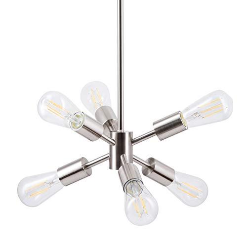 Stella LED Sputnik Chandelier Light Fixture, Brushed Nickel, Linea di Liara LL-P231-BN