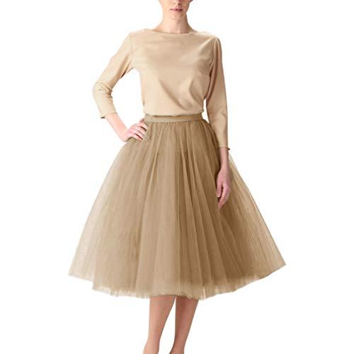 WDPL Adult A-line Tulle Skirt Bridesmaid Petticoat Tutu for Women (X-Large Khaki)