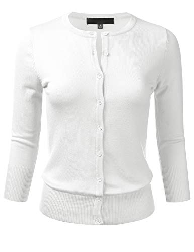 FLORIA Women's Button Down 3/4 Sleeve Crew Neck Knit Cardigan Sweater White M