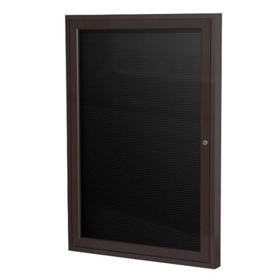 Ghent 36'' x 30'' 1 Door Enclosed Flannel Letter Board, Bronze Aluminum Frame (PB13630B-BG) by Ghent