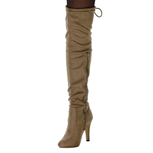 Boot Soft Boots Fashion 10 Golden cm Angkorly 5 Thigh High Stiletto Women's Shoes Heel Thigh Stiletto Khaki Boot Cord 5w0xXIq