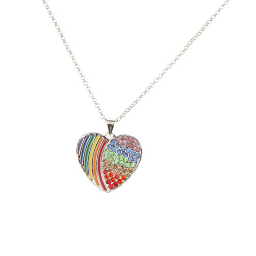 - Simple Rainbow Necklace Gay Pride LGBT Chain Jewelry Gay Lesbian Transgender Necklace Jewelry Crafting Key Chain Bracelet Pendants Accessories Best| Style - Heart Platinum