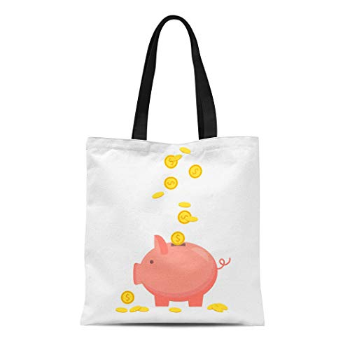 Semtomn Canvas Tote Bag Pink of Money Investment Banking Services Piggy Bank Coin Durable Reusable Shopping Shoulder Grocery Bag