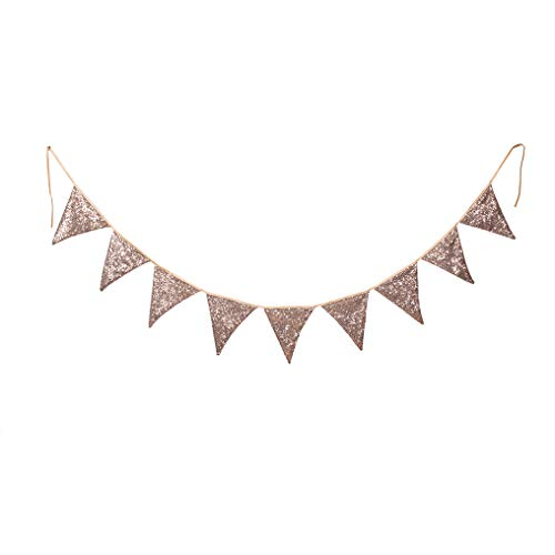 PartyDelight Rose Gold Sequin Bunting, Multicolor Fabric Triangle Flag Bunting for Party,Wedding Sequin Bunting/Garland, Outdoor Bunting Flag(9 Flags in one Bunting, 2 Packs) -