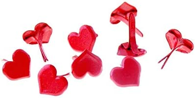 Kamas 50PCs Red Pastel Heart Brads Scrapbooking Embellishment Holiday Decoration & Gift 9x8mm F1451