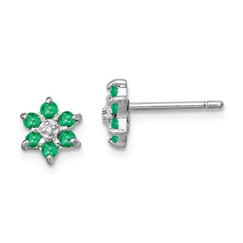 925 Sterling Silver Green Emerald Diamond Post Stud Earrings Flower Gardening Love Fine Jewelry Gifts For Women For ()