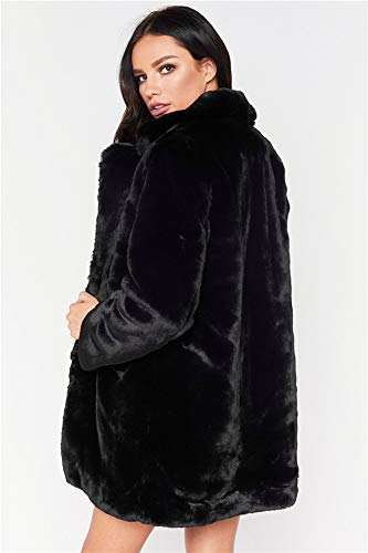 Largos Invierno Manga De Polo Abrigo Larga Medio Para Collar Sintética Vestidos Mujer xxl Estilo black Piel Largo 1zwcqfnvc8