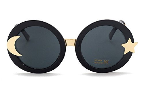 Chezi Women's Glitter Shell-effect Acetate Moon Star Accent Round Sunglasses (black, - Moon Sun Sunglasses And
