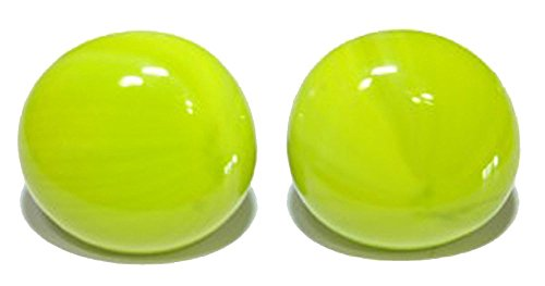Lime Green Earrings (BRIGHT LIME GREEN GLASS GEM STUD EARRINGS (S097))
