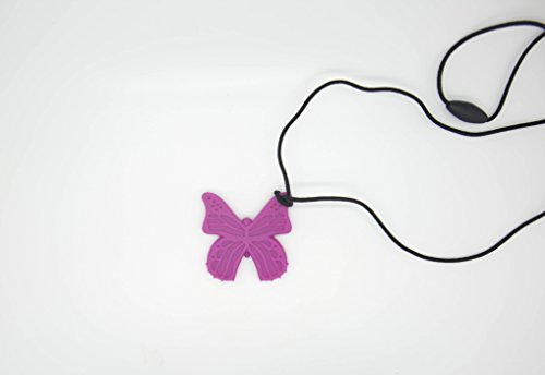 Bestie Toys Butterfly Sensory Chew Necklace-(1 Pack)-FDA Approved Silicone-Chewlery For Boys & Girls With Autism SPD ADHD Chewing Biting Stimming Needs- Oral Motor Aid- Made in the U.S.A(Magenta)
