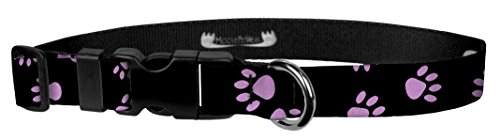 Moose Pet Wear Dog Collar - Patterned Adjustable Pet Collars, Made in the USA - 3/4 Inch Wide, Small, Puppy Paws Pink on Black