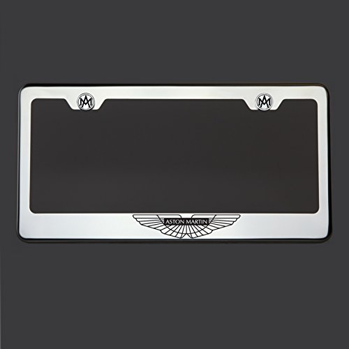 Black Lettering Laser Engraved Mirror Polish Stainless Steel Aston Martin Logo License Plate Frame Holder Front Or Rear - Watch Aston Stainless Steel
