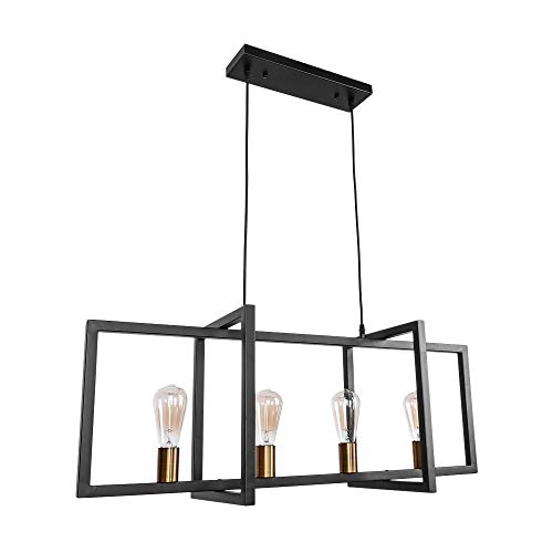 OYI Industrial Kitchen Island Light, 4 Lights Modern Pendant Light Hanging Lamp Rustic Ceiling Light Fixture Black Frame Brass Lamp Socket E26 ()