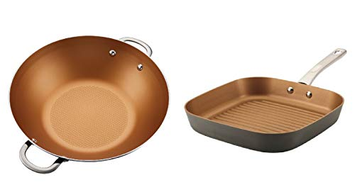 Ayesha Home Collection Porcelain Enamel Nonstick Wok, 14-Inch in Brown Sugar bundle with Ayesha Curry 11'' Hard Anodized Aluminum Deep Square Non-Stick Grill Pan