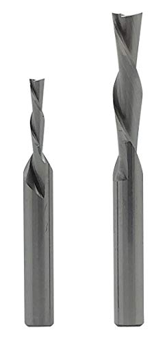 USA Worktools Downcut Spiral Router Bit 1/4-Inch Cutting Dia. PLUS Downcut Spiral Router Bit 1/8-Inch Cutting Dia. | Solid Carbide Router Set, 2 Pcs | 2 Flute, 1/4-Inch Shanks | Made in USA (DN140180)