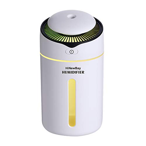 (HiNewBay Car Humidifier Cool Mist Car Diffuser USB Ultrasonic Humidifier Portable Waterless Auto Shut-Off and 7 Color LED Lights Humidifier for Baby Bedroom Home Office)