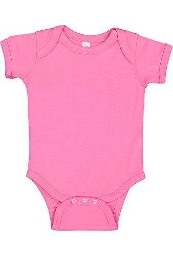 Rabbit Skins Infant 100% Cotton Baby Rib Lap Shoulder Short Sleeve Bodysuit (Raspberry, 6 Months)