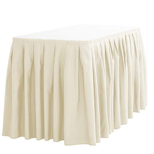 (LinenTablecloth 17 ft. Accordion Pleat Polyester Table Skirt Ivory)