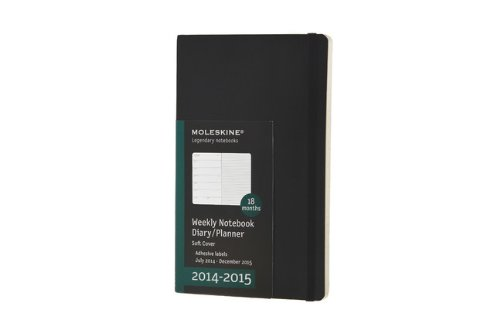 Moleskine 2014-2015 Weekly Planner, 18 Month, Large, Black, Soft Cover (5 x 8.25) (Moleskine Diaries)