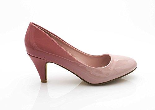 6CM Escarpin Femme Shoes Femmes Talon Fashion Effet Escarpin Chaussures Talon Moyen Bicolor Rose Escarpin Vernis Conique Dégradé Chaussures SqAww4pW75