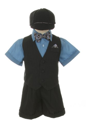 Dress Suit Tuxedo Outfit Set-Shorts,Bowtie,Vest, Short Sleeve Shirt & Hat for Infant Baby Boys, Blue-Gray-Pinstripe, 9 Months