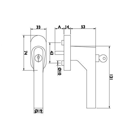 Edelstahl matt HERMAT Dreh//Kipp Fenstergriff Rasterolive 1802 DKI BASIC 02-200Nm mit Druckzylinder Vierkant 24-42mm abschlie/ßbar