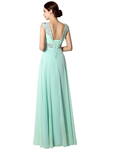 Sarahbridal Women's Long Chiffon Prom Dress Evening Gown 2018 with Beading Black US6