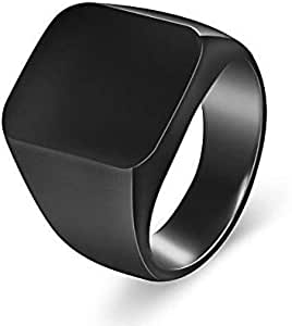 Men's ring polished shiny black Size 7