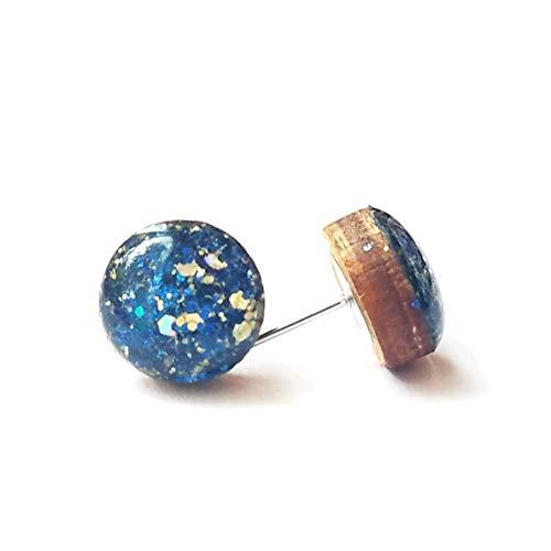 6a8ac147c Amazon.com: Handmade navy blue glitter with gold flecks wooden stud ...