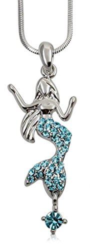 Girls Flounder Costume For (Silver Tone Mermaid Necklace Rainbow Multicolor Crystals for Women, Teens, Girls (Aqua)