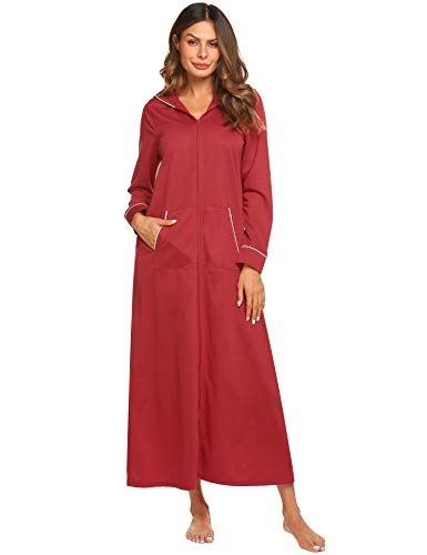 Ekouaer Long Sleeve Robe Cotton Nightgowns with Hood Zipper for Women, Wine Red, Large