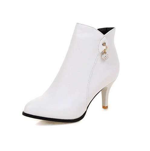 Top WeiPoot Material Women's Closed High Boots Soft White Toe Pointed Solid Low Heels rr8x1qB