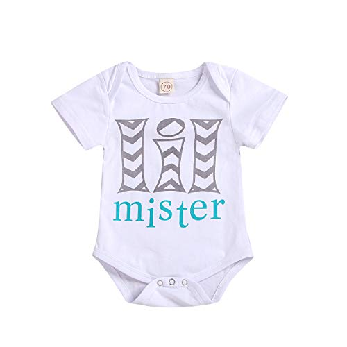 Newborn Toddler Baby Clothes Kids Boy Romper Big Sister Top T-Shirts Matching Bodysuits Outfits Summer (12-18 Months, White Lil Mister Romper)