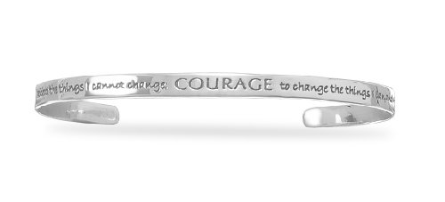 - Serenity Prayer COURAGE Cuff Bracelet Sterling Silver