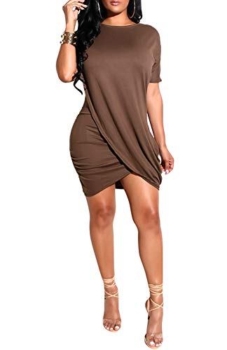 Ophestin Women Short Sleeve Solid Color Bodycon Tight Ruched Wrap T Shirt Mini Short Dress Coffee XL