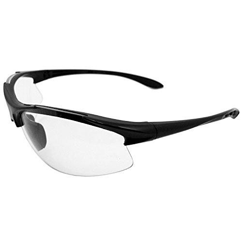 Erb Safety Glasses - ERB 18614 Commandos Safety Glasses, Black Frame with Clear Anti-Fog Lens