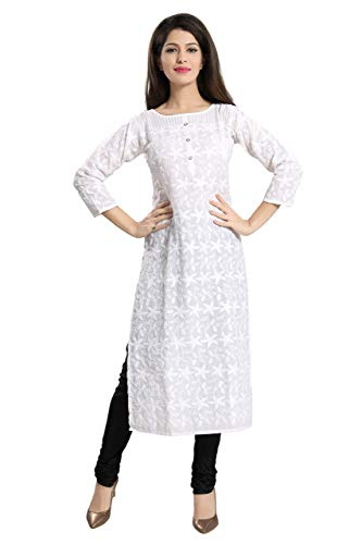 Queenshield Chikankari Kurtis for Women Solid Cotton Chikan Kari Kurta Kurti Indian Dress for Girls Ladies - White