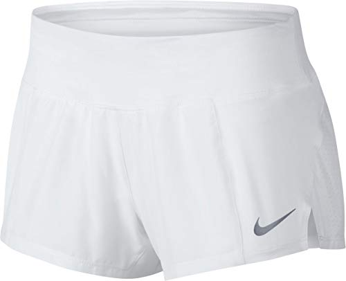 Nike Women's Crew Running Short (White/Reflective Silver, Large)