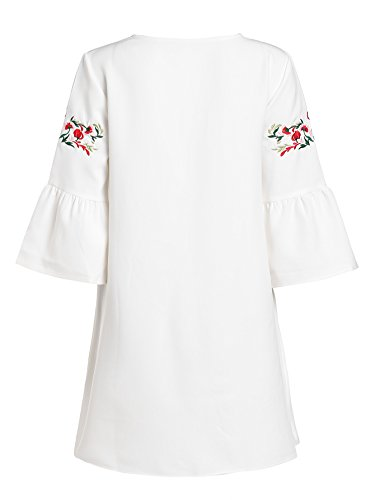 f1ef96f2bee82d Floerns Women's Bell Sleeve Embroidered Tunic Dress