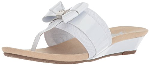 Anne Klein Women's Impeccable Slide Sandal White/Silver Synthetic official online RYfjNk