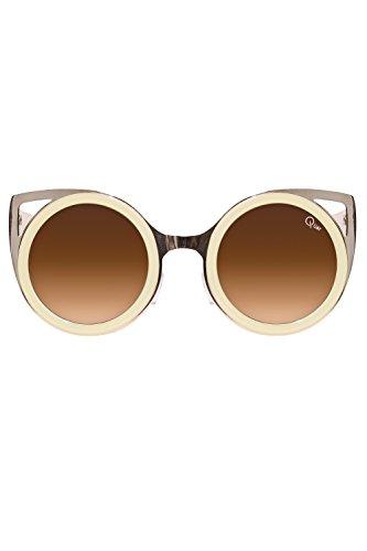 Quay Let s Dance Sunglasses Shades Cat Eye Frame Plastic Metallic Aviator