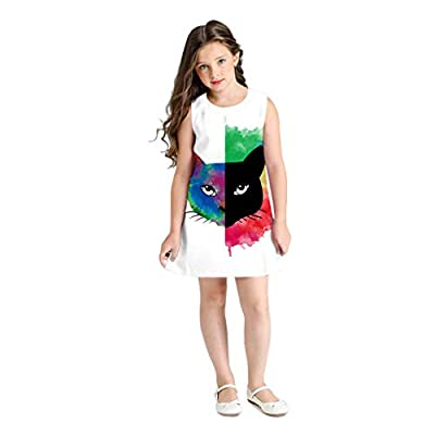NUWFOR Teen Toddler Kid Girl Sleeveless 3D Cartoon Print Cartoon Dresses Casual Clothes