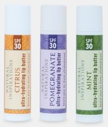 Natural Inspirations Ultra Hydrating SPF 30 Lip Butter 3 Piece Set - Citrus, Pomegranate and (Pomegranate Lip Butter)