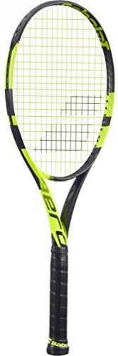 Babolat Pure Aero Yellow/Black Tennis Racquet (4 1/8″ Grip) strung with Yellow Tennis String