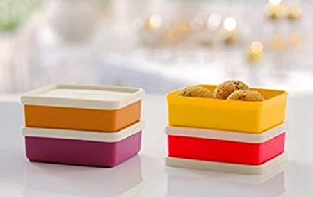 Tupperware Mini Square Away, Pack of 4 Kitchen Storage   Containers